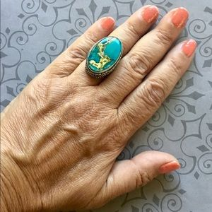 Copper Blue Turquoise Cab Ring 7.5 Gemstone